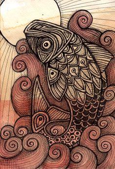 Tribal Fish / Koi / Carp  by Lynnette Shelley
