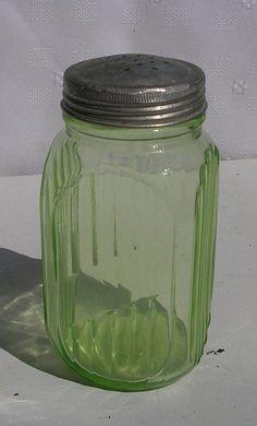 Green Depression Glass Sugar Shaker