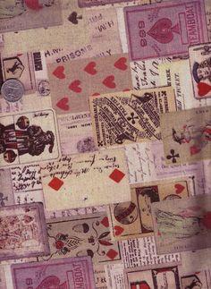 Half Yard Japanese Linen Blend Cotton Fabric Kokka Cards. $8.50, via Etsy.