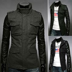 Leather Sleeve Slim Fit Men Fashion Wool Coat | Sneak Outfitters