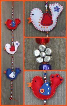 Felt bird decoration  MiniLuckybird garland in red, white, blue and orange door StudioSimone, €15.00