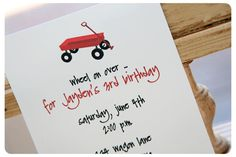 """The 1st Birthday Party Invite!  I am so in love with this and every other """"red wagon"""" idea!"""