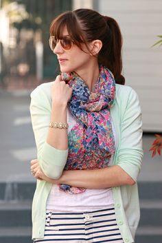 Floral scarf, striped shorts, mint cardigan