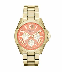 Fossil Cecile Coral Dial Goldtone Multifunction Watch #Dillards