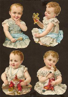 DIE CUT SCRAP~BABIES TOYS DOLLS~19th CENTURY