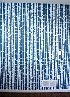 LOVE this birch tree stencil! who needs wallpaper when you can stencil like this??