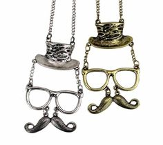 Mr hat glasses mustache necklace fun gift for him by dollarjewelry, $3.99
