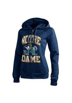 Notre Dame Fighting Irish Champion Full Zip Jacket - Fighting Irish Womens Navy Blue Eco Fleece Long Sleeve Full Zip