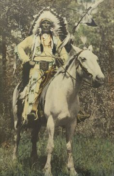 Stoney (Nakoda) Indian chief on horse back