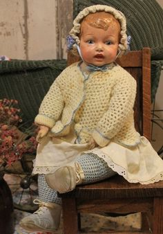 """Unusual 21"""" Antique, Old, Vintage Composition Cloth, jointed Baby Doll"""