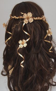 Wedding Headpiece - Hair Accessory - Gold Circlet Flower Crown - Cascading Veil of Vines - Vintage Flowers by Sweet Little Sparrow #wedding