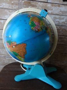Vintage Globe Fisher Price Light World Globe - 18 inches tall...globe i had as a kid!