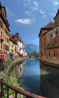 nice The River Thiou flowing through Annecy in the Rhone Alps of southeastern France