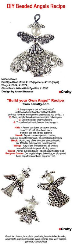 Beaded Angel Recipe. How to make simple, affordable beaded angels with just a few supplies. Bead caps, wings, glass pearls and head pins. Tutorial from eCrafty.com #ecrafty @ecrafty link: http://www.ecrafty.com/p-3603-beaded-bali-style-angels-free-printable-diy-project-sheet-pdf-56.aspx