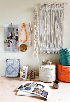 Nice display of the artist's materials in his/her studio.