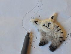 Snow Animal feltech broch by vusova on Etsy, $20.00
