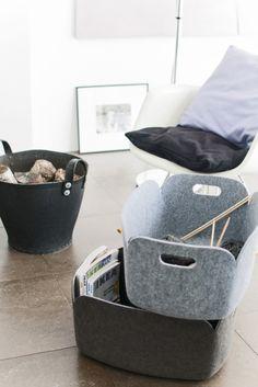 felt baskets in shades of grey