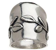 Or Paz Sterling Polished Vine Design Elongated Ring