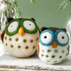 Felted Owl Ornaments