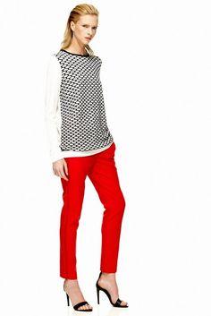 Tibi, red pants red photo, shops, resorts, runway, easi sweater, red rover, flats, mesh easi, red pants