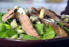 Steak over Spinach gorgonzola salad
