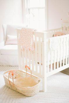 Soft peach vintage girl's nursery by Well Worn Co. | 100 Layer Cakelet #peach #nursery #modern