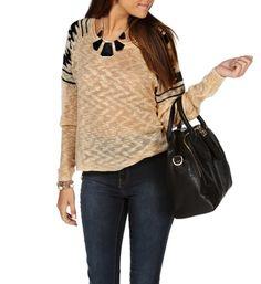 Taupe/Black Azetec Shoulder Sweater