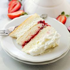 Layers of moist, buttery cake filled with strawberry pie filling and whipped cream frosting.