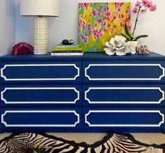"""O'verlays: 6""""x29"""" Annes on 6 drawer MALM dresser painted navy"""