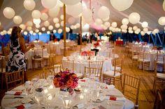 Outdoor tented wedding reception