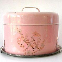 Vintage pink cake carrier.