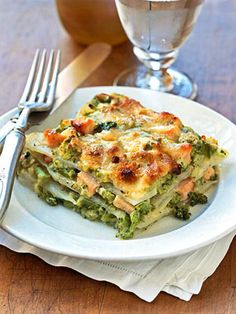 This turkey casserole recipe is a fun take on lasagna. Layers of Alfredo sauce, potatoes, and a mixture of broccoli, smoked turkey, and Swiss cheese are baked until hot and bubbly.