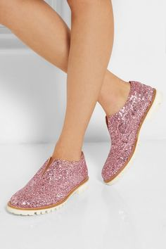 Finds | L' F Shoes + Gipsy Ilga glitter-finished leather brogues | NET-A-PORTER.COM