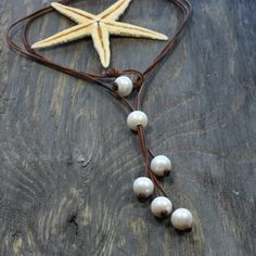 Leather and Pearls Necklace Jewelry Seaberries by nicholaslandon, $148.00