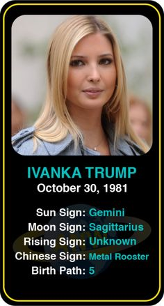Celeb #Scorpio birthdays: Ivanka Trump's astrology info! Sign up here to see more: https://www.astroconnects.com/galleries/celeb-birthday-gallery/scorpio?start=30 #astrology #horoscope #zodiac #birthchart #natalchart #ivankatrump