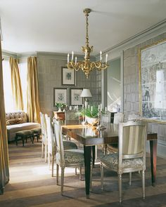 Very Metallic Dining Room Even The Gold Here Is Silvery