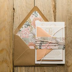 BAILEY Suite Rustic Package, peach, coral, blush, mint,  rustic wedding invitations, twine for invitations, floral wedding invitations, kraft wedding invitations, letterpress wedding invitations, http://justinviteme.com/collections/styled-collections/products/bailey-suite-styled-rustic-package