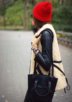 leather + bright colored beanie