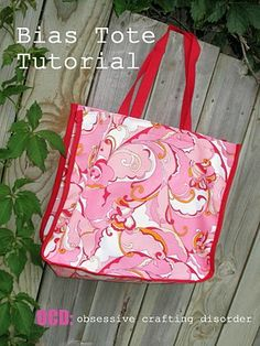 bias tape, shopping bags, craft disord, sew tutori, bag sew, bag tutorials, bias tote, tote bags, sewing tutorials