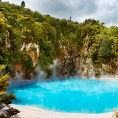 Inferno Crater Lake in the Waimangu Volcanic Valley, New Zealand.