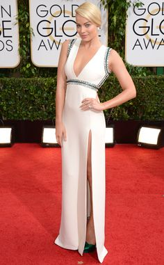 Margot Robbie in Gucci. Best Dressed at the 2014 Golden Globe Awards