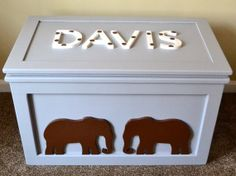 Personalized Wooden Animal Toy Chest / Trunk, Animal toy box, elephant, giraffe, lion on Etsy, $495.00