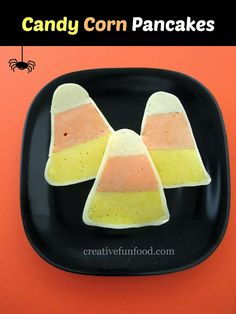 Candy Corn Pancakes :: perfect for a fun Halloween breakfast treat!