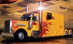 Somthing like this is for those who live entirely on the road. Nice, but I bet a pain to keep looking this good. car, big truck, big ol, big rig, peterbilt truck, hot rig, big overs, semi truck, flame