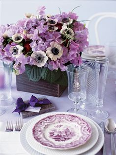 Tablescape ● Floral Centerpiece ● Purple