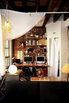 small apartments, office spaces, work space, loft office, bedroom office, bricks, exposed brick, home offices, workspac