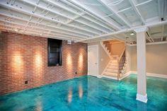 patio design, basement designs, basement renovations, concret floor, stained concrete, stain concrete, concrete floors, basements, painted ceilings
