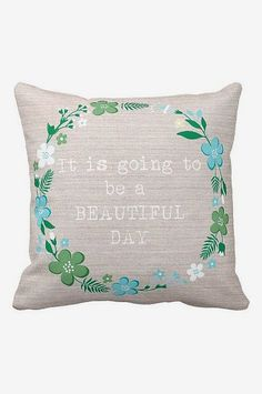 Pillow Cover Floral Wreath Beautiful Day