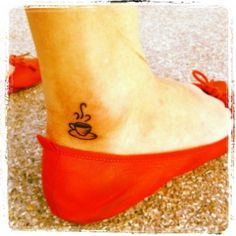 coffee lovers, tattoo ideas, ankle tattoos, caffeine, coffee cups, matching tattoos, a tattoo, tea, cup of coffee
