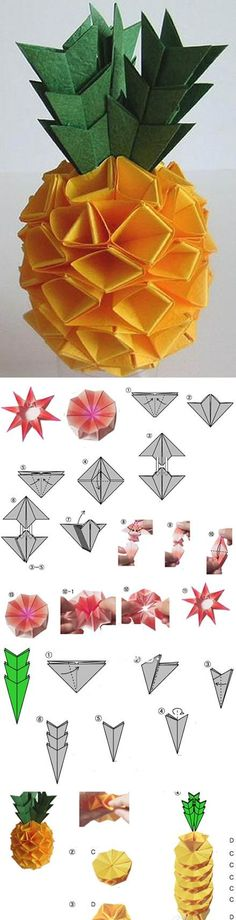 pineapples, idea, paper craft, party themes, summer parties, papers, origami, diy, crafts